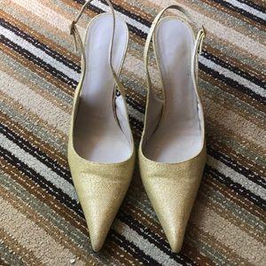 Roberto Cavalli yellow slingback heels